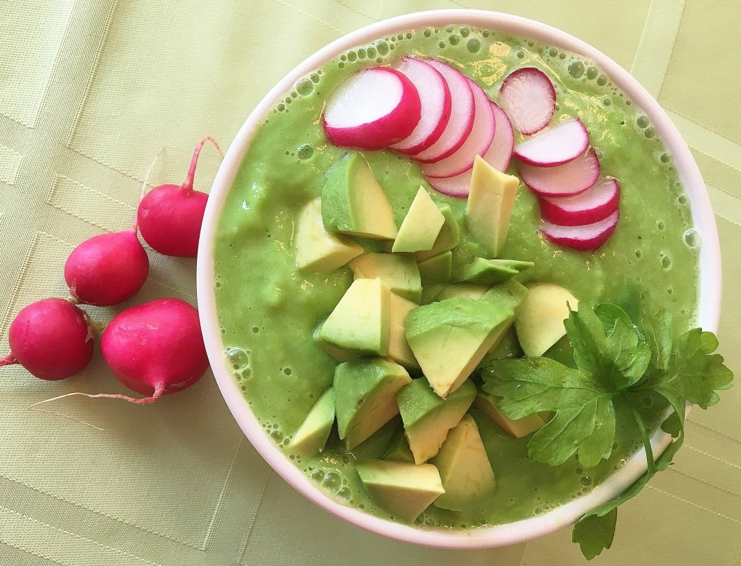 Green Pea Soup w radishes & avocado